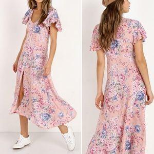 Auguste Dahlia Frill Sleeve Floral Day Dress
